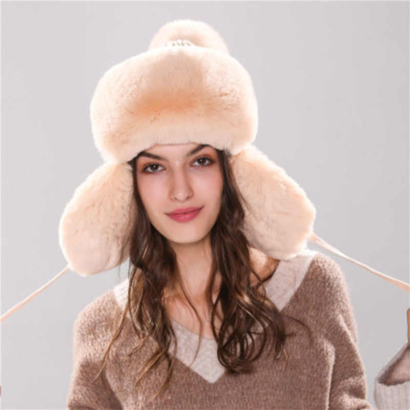 Thick Warm Faux Rabbit Fur Beanies With Pom Pom Ball Russia Bomber Hats For Women Winter Knitted Caps With Ear Flap