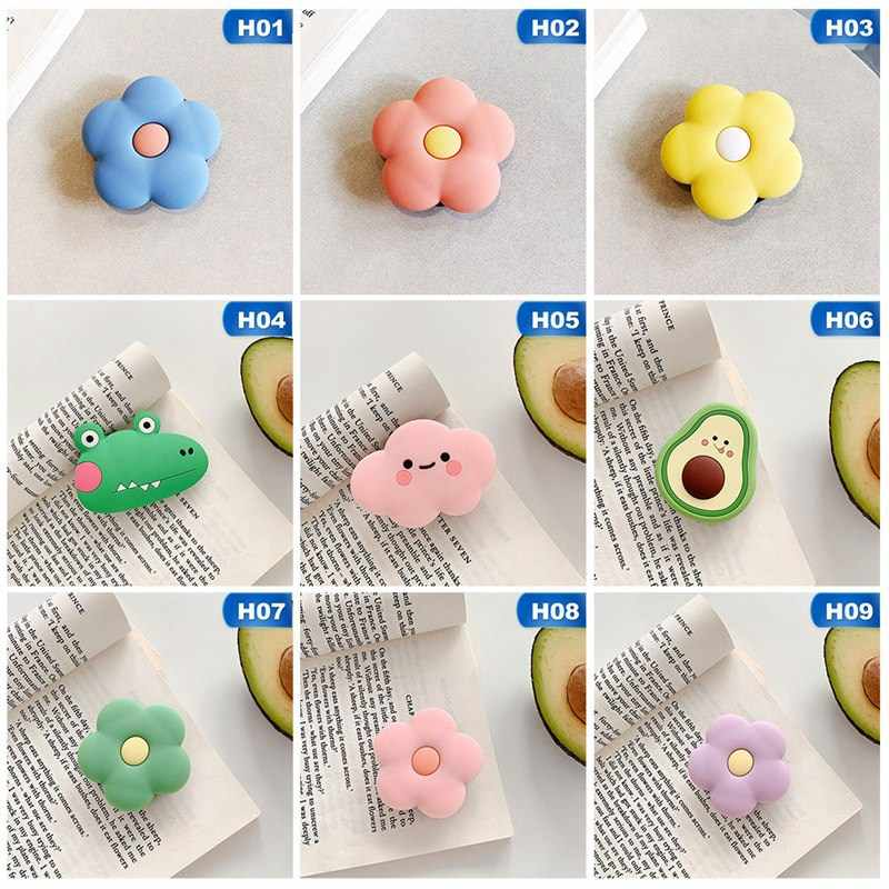 Cartoon Avocado Flower Cloud Mobile Phone Ring Folding Telescopic Bracket Paste Soft Plastic Drop Mobile Phone Universal Bracket
