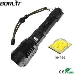 Linterna BORUiT X912 LED de alta potencia 3500LM XHP90 linterna recargable del Banco de la energía linterna de 4 modos Zoom Luz de pesca de caza