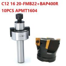 1set C12 C16 20 FMB22+BAP400R 50mm Cutter Head+10pcs apmt1604 Carbide Inserts Face Milling cutter shell end mill adapter