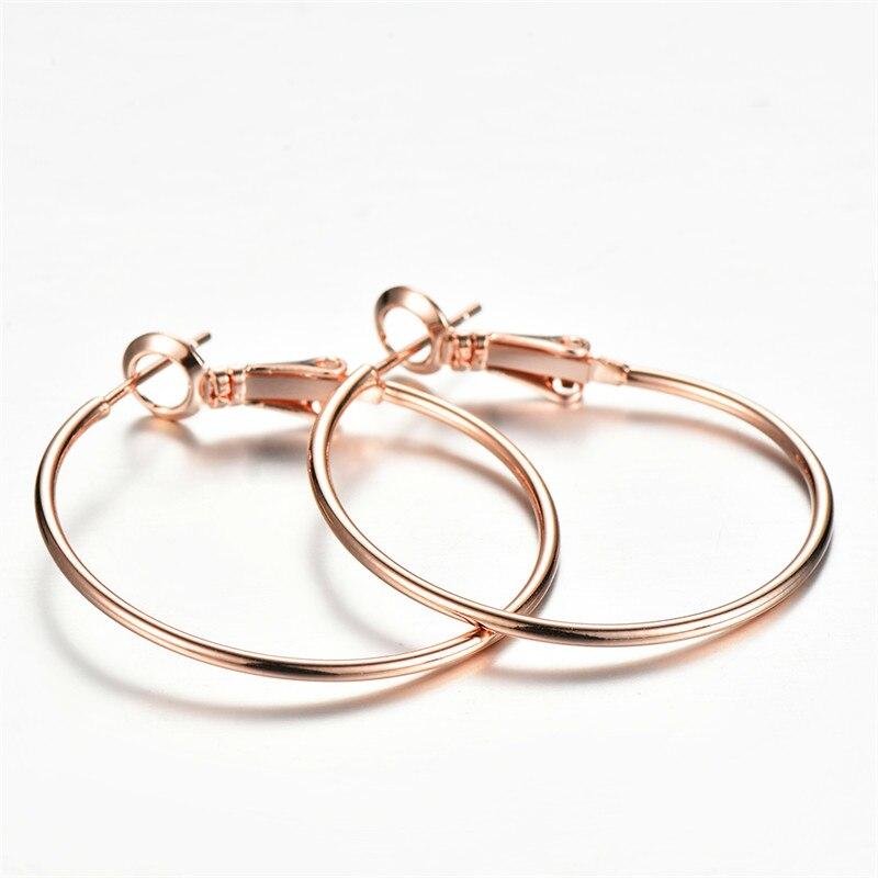 Moda feminino círculo grande hoop brincos simples redondo casamento brincos para as mulheres bonito rosa ouro prata cor brincos