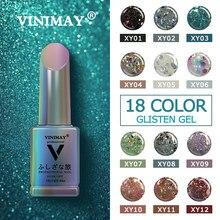 Vinimay 18 cor glitter gel polonês verniz prego uv embeber fora gellak gelpolonês unha arte primer manicure unhas gel lacque