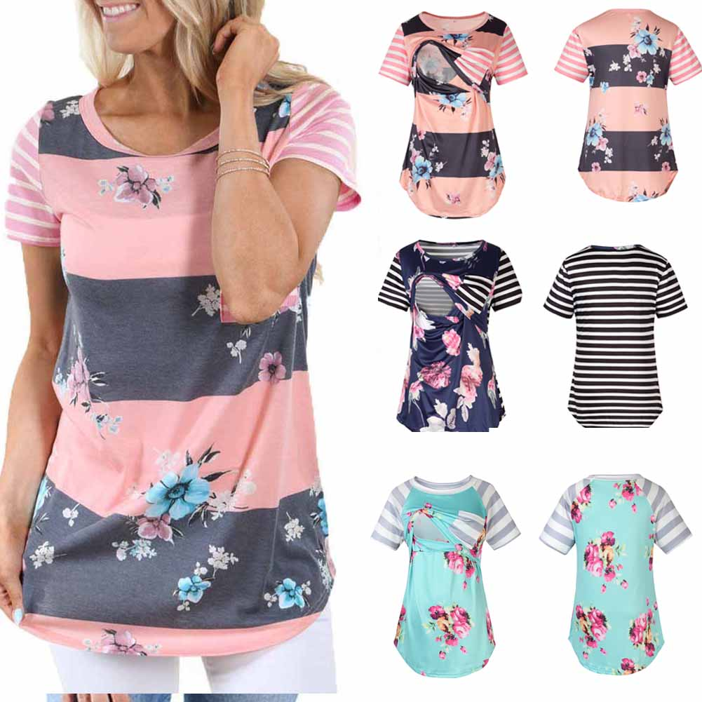 Striped Women Pregnant clothes round neck Flower print Maternity Nursing Tops long Sleeve Breastfeeding T-Shirts one pieces