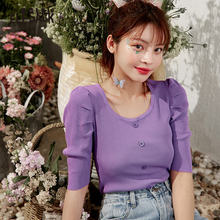 ELFSACK White Solid Chic Button Casual Knitted T-Shirts Women 2020 Summer ELF Pu