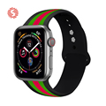 ShengOne Fashionable Stripe Soft Silicone Sport Band for Apple Watch Series 4 5 6 SE 40MM 44MM Striated Rubber Strap 38MM 42MM