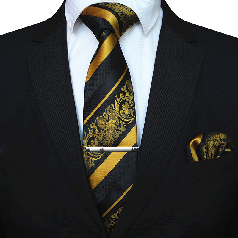 KAMBERFT Classic Mens Floral Necktie And Pocket Square Tie Clip Sets For Men Yellow Striped 8cm Silk Necktie Wedding Accessorie