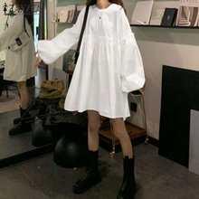 2021 ZANZEA Fashion Women Solid Mini Dress Summer Ruffles Sundress Casual Kaftan Robe Puff Sleeve Loose Party Vestidos Plus Size