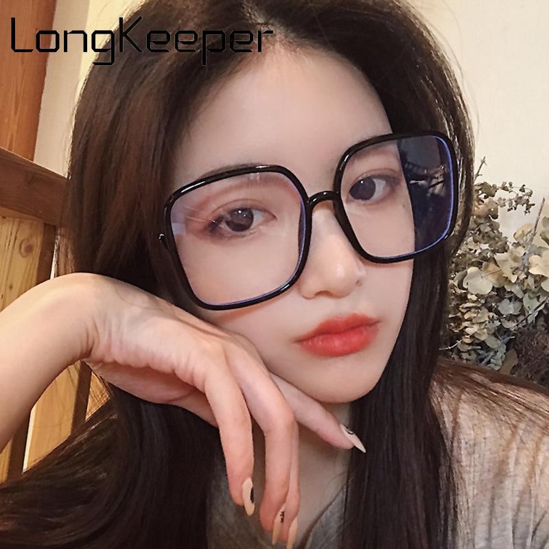Vintage Oversized Square Glasses Frame Women Fashion Big Transparent Eyeglasses Female Clear Lens Optical Spectacles