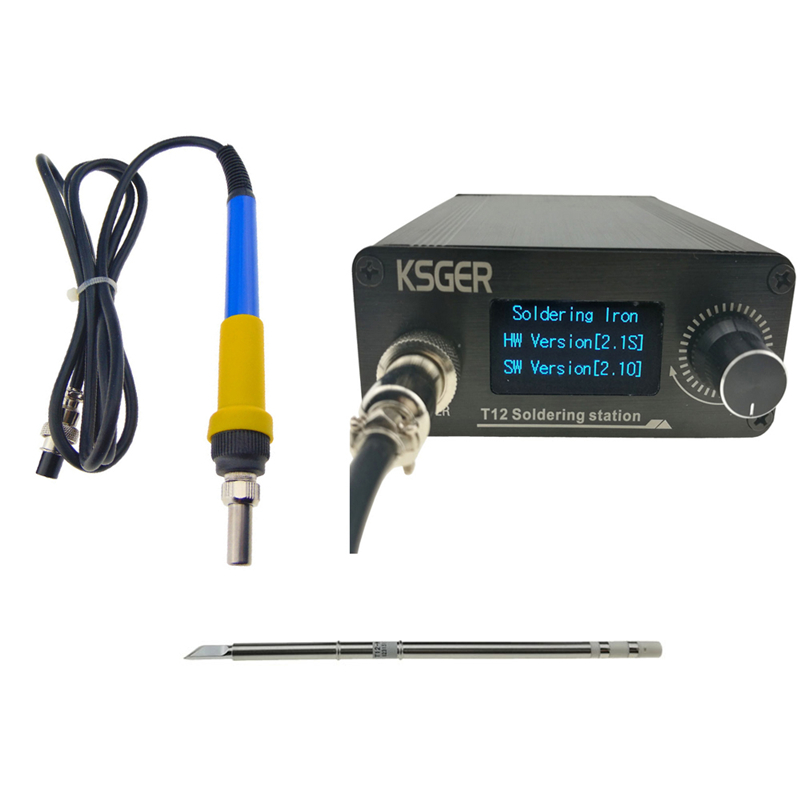 KSGER 3Pcs V2.1S T12 Electric Soldering Station Digital Temperature Controller Electric Soldering Iron Tips T12-K + 907 Handle