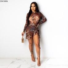 CM.YAYA Ästhetischen Druck Sexy Frauen Party Kleider Gestapelt Lange Hülse Gurt Kordelzug Geraffte Clubwear Bodycon Rüschen Mini Kleid