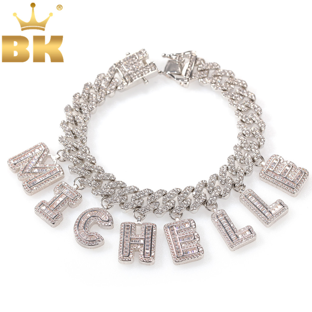 THE BLING KING Hiphop DIY Statement 12mm S-Link Miami Cuban Necklace Baguette Letter Pendant ankle Jewelry Wholesale Own Style(China)
