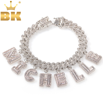 THE BLING KING Hiphop DIY Statement 12mm S-Link Miami Cuban Necklace Baguette Letter Pendant ankle Jewelry Wholesale Own Style