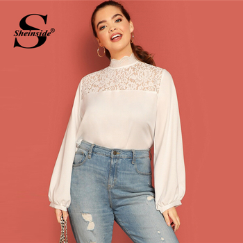 Sheinside Plus Size Casual Stand Collar Lace Patchwork Blouse Women 2019 Autumn Lantern Sleeve Blouses Ladies Solid Basic Top