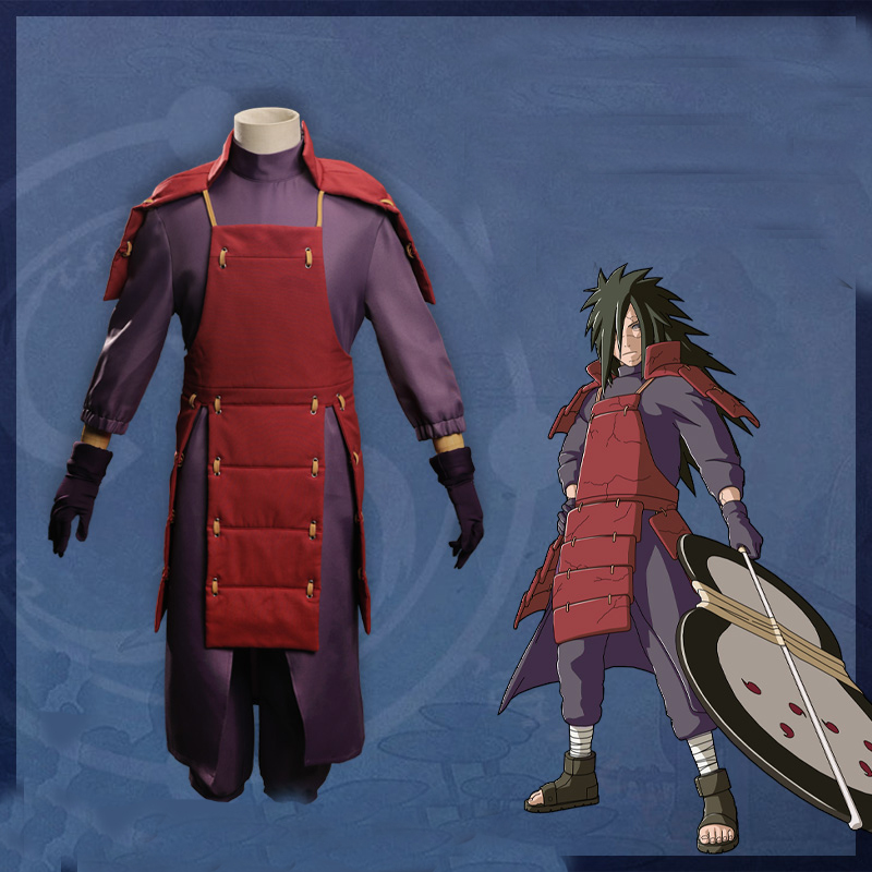 Hot Sale Anime NARUTO Uchiha Madara Cosplay costumes Battle Suit Halloween Party Naruto Full Set wig shoes cosplay Costume