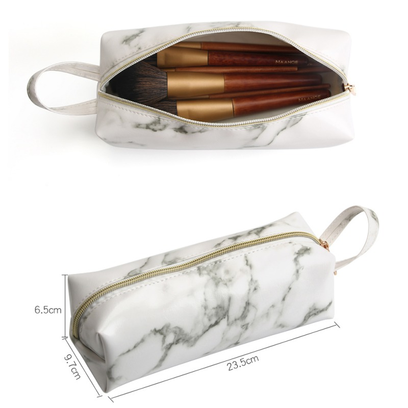 Square Marble Cosmetic Bag Travel Bag Female Waterproof Smooth PU Metal Zipper Waterproof Durable Portable Makeup Bags