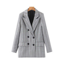 Lady Long Sleeve Coat Female Women Blazer Feminino Pockets Plaid Vintage Outwear Jacket Tide Double Breasted