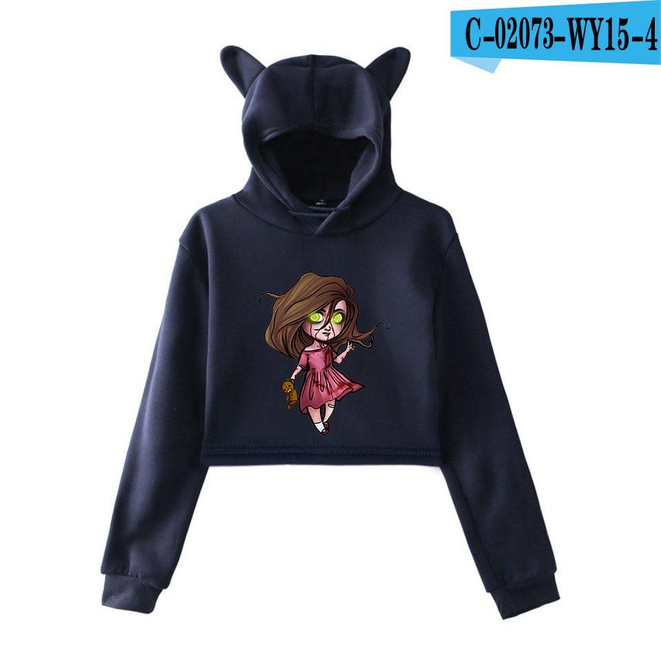 unique horror atmosphere of black humor creepypasta  print fashion trend Cat ears Top Women Hoodies Sweatshirt Sexy clothes 9