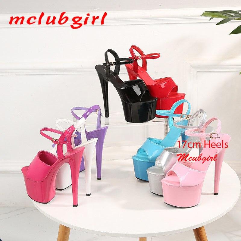Mclubgirl Women Sexy Show Sandals 13 15 17 CM High Heels Sexy Platform Color Sandals Girls Shoe for Party Club Drop Sale LFD