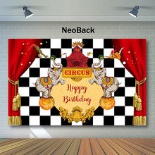 NeoBack Circus Birthday Backdrop Elephant Tent Photo Background Black White Plaid Red Curtain Photography Backdrops
