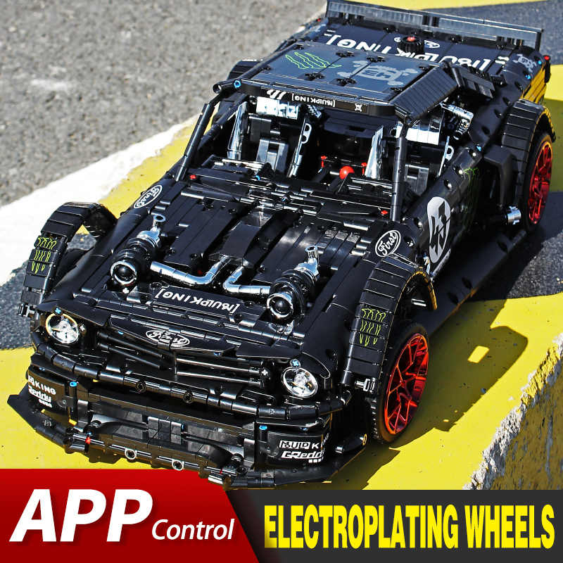 APP RC Ziegel Ford Mustang Hoonicorn RTR V2 Stadt Racing Auto Modell Kit Fit Lepining Technik MOC-22970 Bausteine Kinder spielzeug