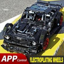 APP RC 벽돌 포드 머스탱 Hoonicorn RTR V2 도시 경주 용 자동차 모델 키트 Lepining Technic MOC 22970 빌딩 블록 Kids Toys