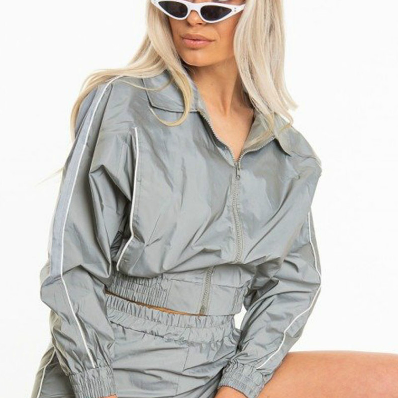 Women Basic Coats Iridescent  Bomber Jacket 2020 Autumn Women Jackets Coat 3M Reflective Symphony Hologram