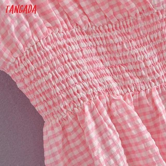 Tangada Women Pink Plaid Long Dress Strap Sleeveless 2021 Summer Fashion Lady Elegant Dresses Vestido 3H114 4