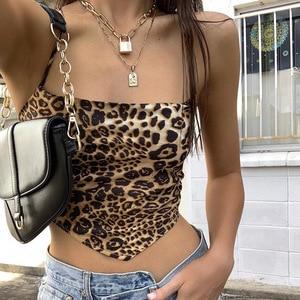 Top curto irregular ombro frente única, estampa de leopardo feminino cropped sexy com costas nuas sensual 2020 topos femininos