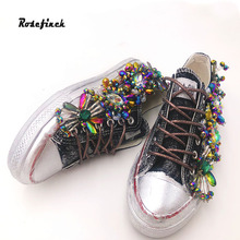 Womens Rhinestone Canvas Shoes Handmade Personalized Three-dimensional Sequins Creative Fashion Sneakers Women Casual WK101