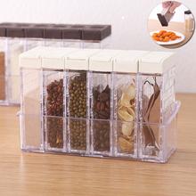 2/ 6 Pcs /Set Seasoning Box  Kitchen Spice Storage Jars Transparent Salt Pepper Cumin Powder Condiment Container D35
