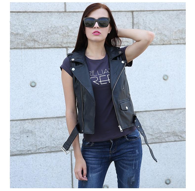 Free Shipping, Plus Size Genuine Sheepskin Leather Women Vest.motorbiker Fashion Woman Vests,sleeveless Leather Jacket