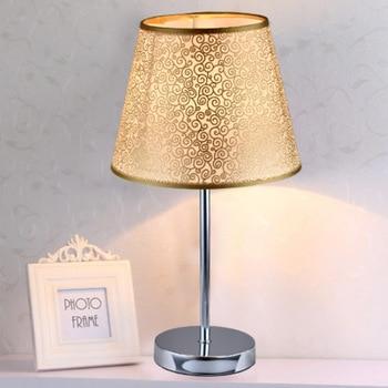 Vintage Gold Silver Table Lamps for Bedroom Bedside Desk Lamp Stand Light Fixtures Hotel Office Led Standing Lighting Home Decor