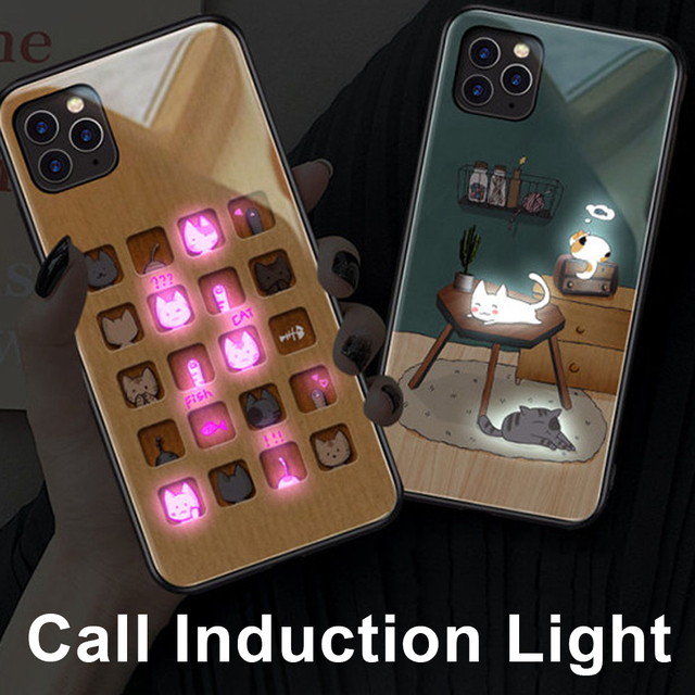 Phone Case For iphone11 /11 pro /11 pro Max Tempered Glass Craft Flash Sound Control Light Incoming Call Flash For iPhone Case