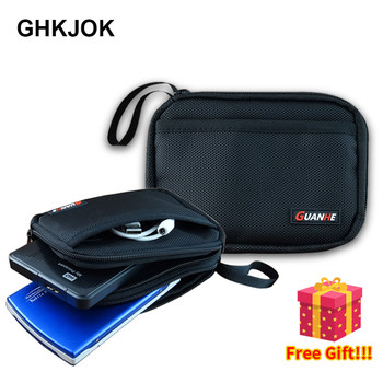 Hard Disk Bag Double Layer Cable Organizer Bag Carry Case HDD USB Flash Drive Hard Disk Drive Bag External Storage Carrying SSD