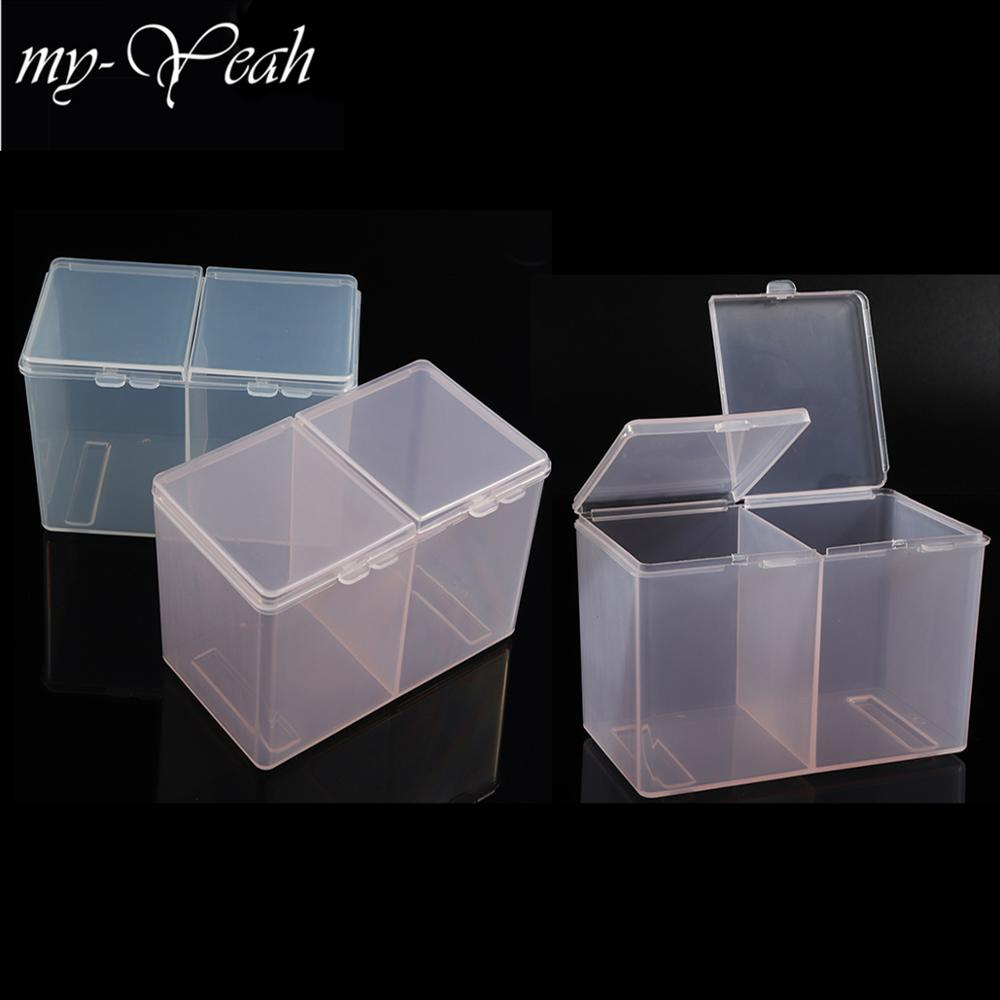 My-Yeah Nail Art 2 Colors Clear Compartments Holder Organizer Container Gel Polish Remover Cleaning Cotton Pad Swab Storage Box