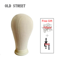 21-25 Canvas Block Mannequin Head Wig Display Styling Training For Lace Making With Mount Hole 1holder+100Tpins