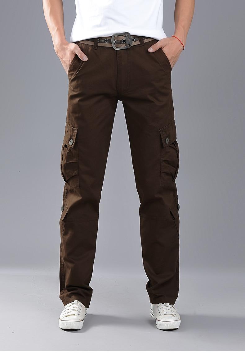 KSTUN Cargo Pants Men Combat Army Military Pants 100% Cotton 4 Colors Multi-Pockets Flexible Man Casual Trousers Overalls Plus Size 38 16