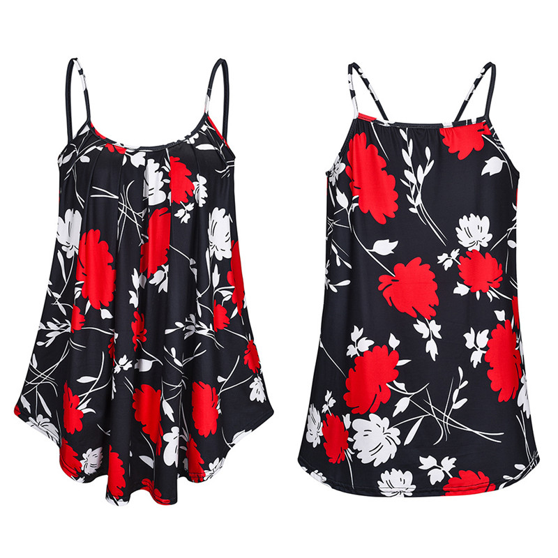 Oversized Plus Size S-6XL Ladies Shirt Women Summer Sleeveless Floral Print Casual Loose Female T shirt Tops Street Tank T Shirt