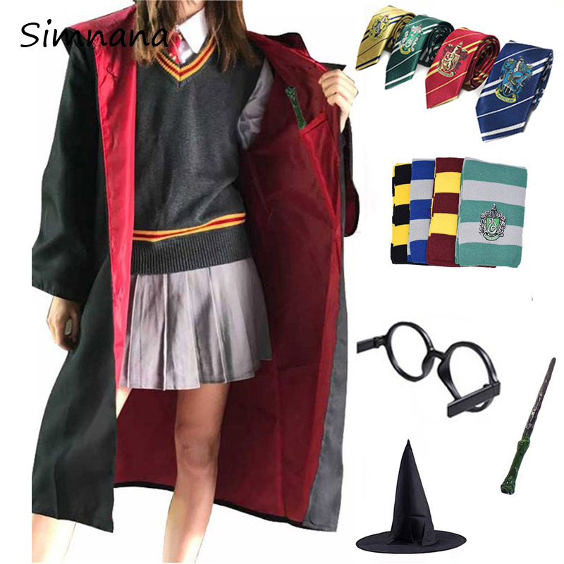 Potter Cosplay Costumes Magic Robe Cape Suit Tie Scarf Wand Glasses Ravenclaw Gryffindor Hufflepuff Slytherin Party Cosplay Gift