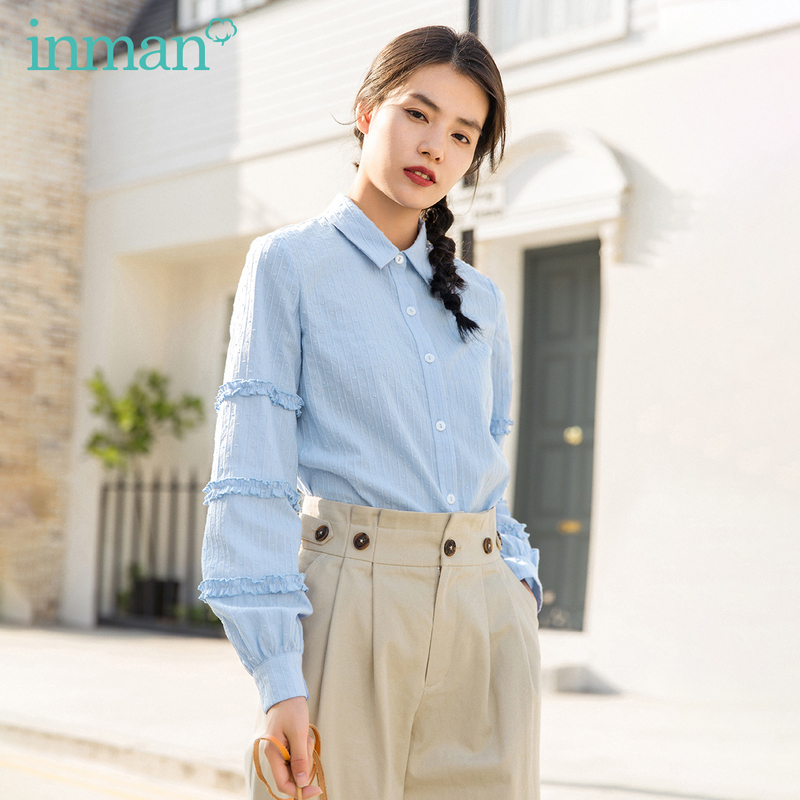 INMAN 2020 Spring New Arrival Literary Pure Color Lapel Single-breasted Loose Lace Long Sleeve Blouse