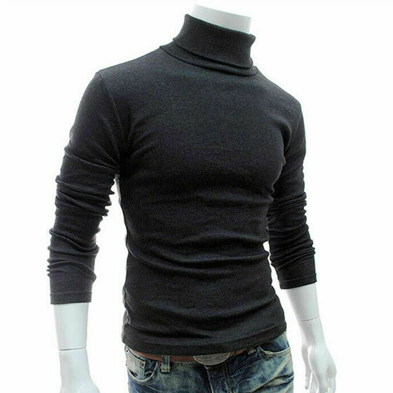 Men Long Sleeve Pullover High Neck Turtleneck Stretch Slim Basic Tee Top Knitwear KNG88