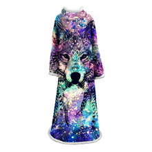 3d Wolf Sleeve Blanket For Adults Painting Plush Throw On The Bed Sherpa Animal Bedding With