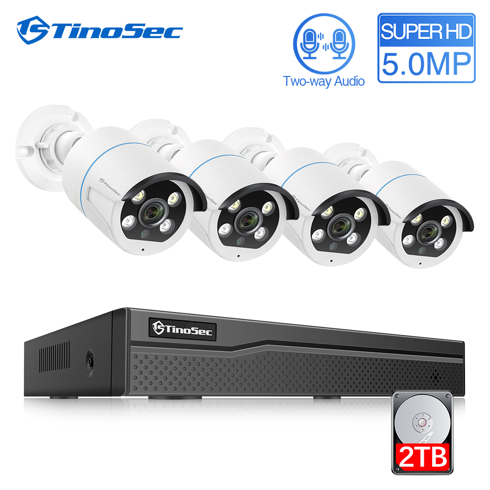 TinoSec H.265 4CH 5MP POE Security Camera System Two Way Audio IP Camera Outdoor Waterproof CCTV Surveillance NVR Video Kit image
