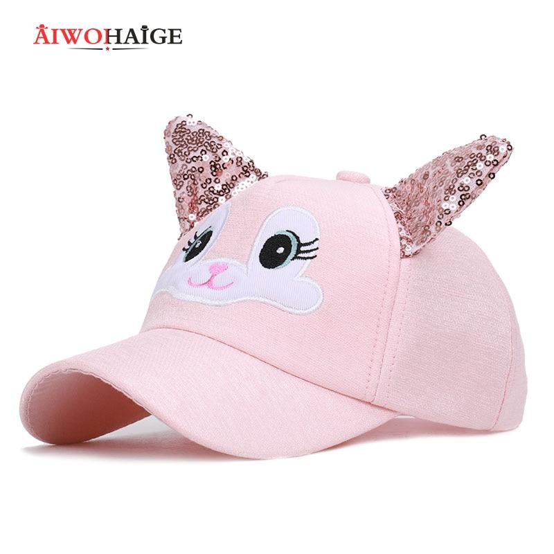 2019 nova bonito coelho bordado boné de beisebol das crianças brilhante chapéu orelhas de coelho adorável menino menina crianças snapback ajustável lantejoulas