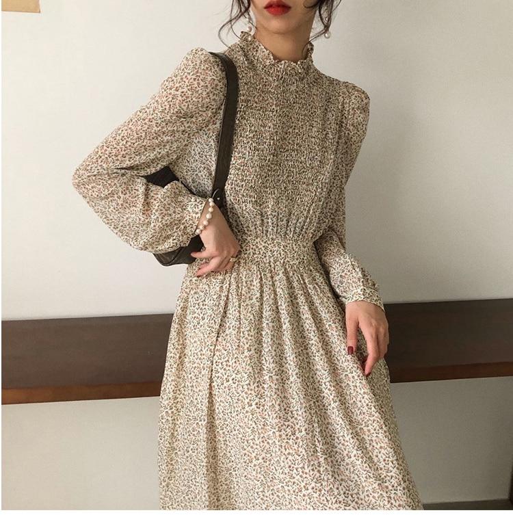 Hacca2cb789024d72935ac3013c9b48a95 - Autumn Stand Collar Long Sleeves Waist-Controlled Floral Print Maxi Dress