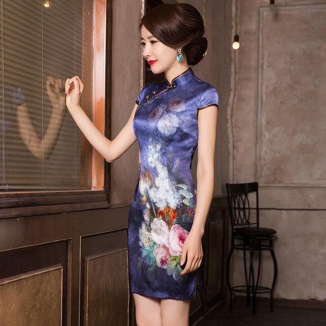 2019 précipité été nouveau classique imprimé soie Cheongsam tempérament dame A entreprend de cultiver la moralité courte Qipao robe