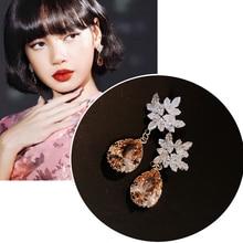 MENGJIQIAO Korean TV Star Champagne Waterdrop CrystalDrop Earrings Women Girls Snowflake Zircon Pendientes Christmas Jewelry