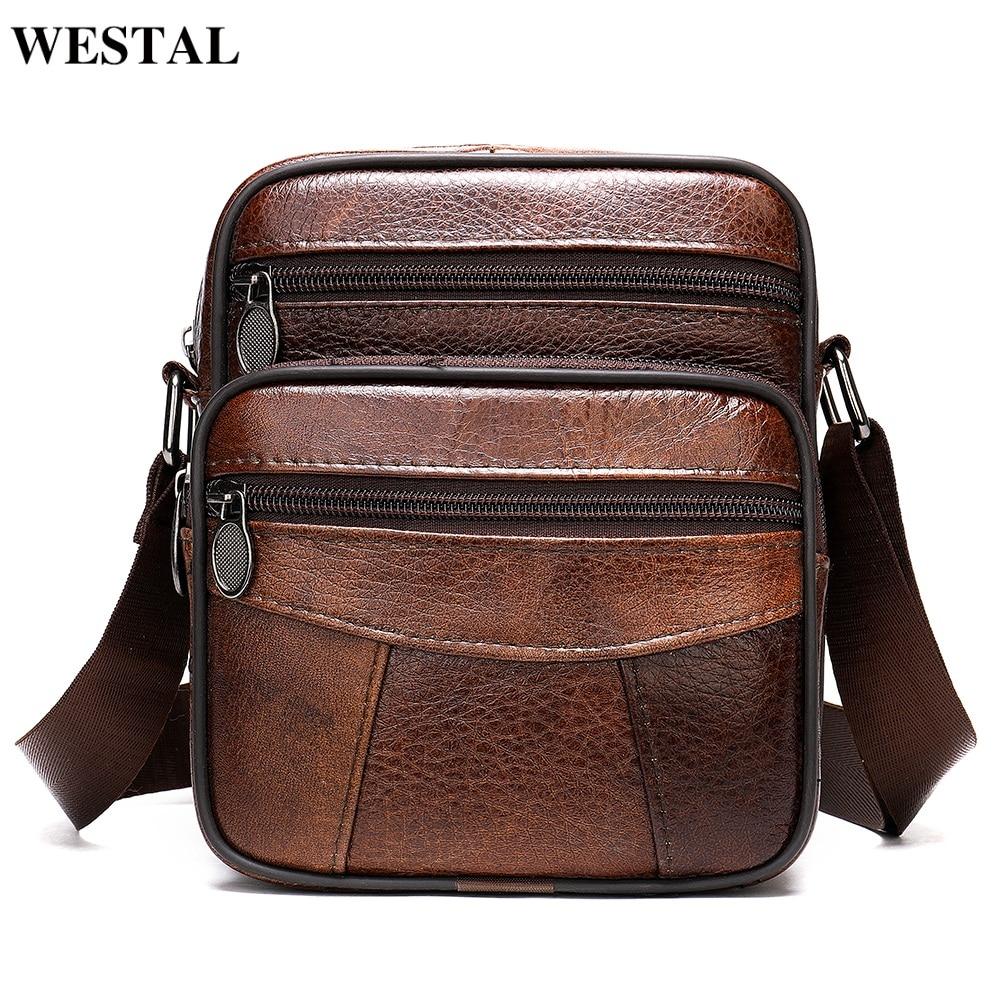 WESTAL Men's Shoulder Bag Small Male Messenger Bags Men's Genuine Leather Bag Men Flap Crossbody Bags Leather Shoulder Handbags
