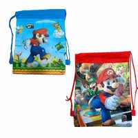 1 Uds. Con tema de bolsa de impresión a Color de Súper Mario, bolsa de nailon para recibir compras, regalo de chico para fiesta de cumpleaños
