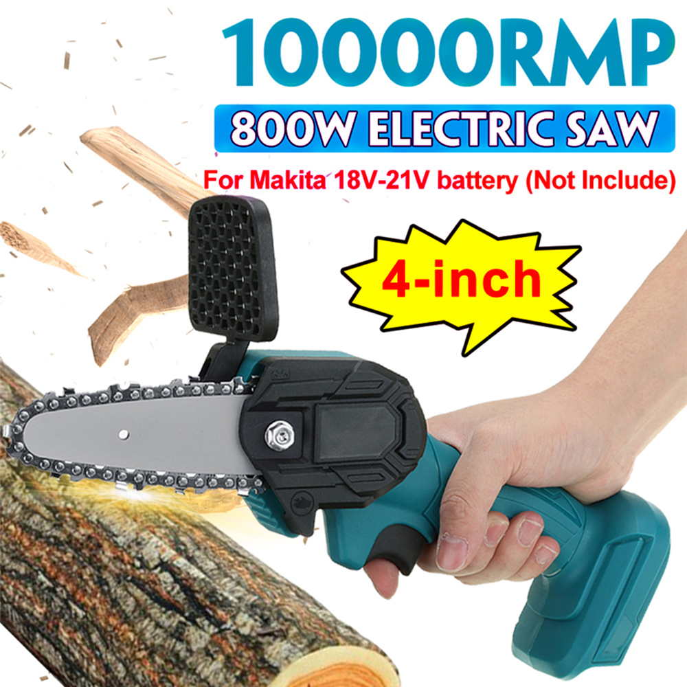 4 Inch 800W Electric Chain Saw Handheld Chainsaw Rechargeable Logging Saw Pure Copper Brushed Motor For Makita 18V-21V Battery